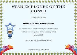 Free Employee Of The Month Certificate Template Cool Elegant And Funny Employee Of The Month Certificate Templates Free