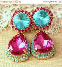 fuchsia turquoise chandelier earrings statement earrings turquoise chandelier earrings swarovski crystal pink fuchsia earrings