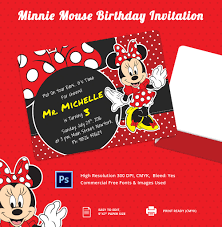 minnie mouse birthday invitation psd ai customizable minnie mouse birthday party template