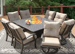barbados cushion 64x64 square outdoor patio 9pc dining set for 8 person with fire table series 7000 atlas antique bronze finish
