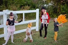 a diy family circus costume complete with strong man lion tamer ring master
