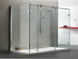 image of frameless sliding glass shower doors for tub