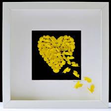 radiance yellow erfly heart wall art
