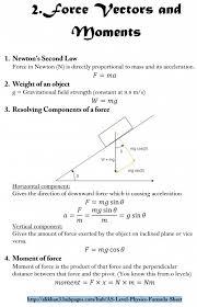 as level physics formula sheet force vectoroments