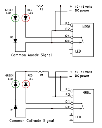 simple red green led model train signal circuit