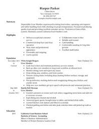 Restaurant Resumes Resume Templates