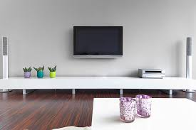 wall mounted TV in living room