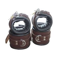 padded brown real leather wrist ankle cuffs 4 pieces set restraints lockable com