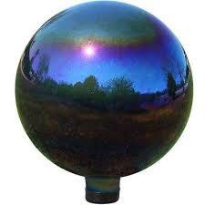 mirrored garden gazing ball rainbow