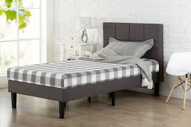 Twin Size Headboard Dimensions Upholstered Square Stitched Platform Bed Grey Zinus
