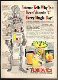 Details About Original 1942 Canned Florida Citrus Fruits Vitamin C Nutrition Chart Print Ad