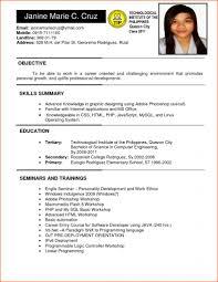 Form Of Resume Sample Resume Format For Ojt Forms Of Resume Sample