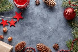 Christmas Background Winter Flat Lay New Year Holiday Empty Space