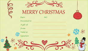 Printable Christmas Certificates Christmas Gift Certificate Templates Printable Editable For Word 26