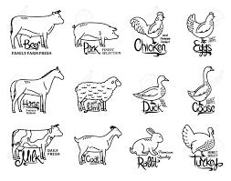 Set Of Butchery Logo Templates Farm Animals With Sample Text