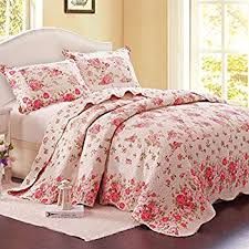 Amazon.com: Laura Ashley Lidia Quilt Set, Pink, Full/Queen: Home ... & Alicemall European Pastoral Bed in a Bag Pink Rose Comforter Set 100%  Cotton Romantic Sweet Adamdwight.com