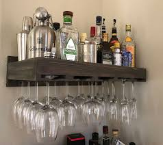 wine rack wall mounted hanging rustic glass holder wooden display shelf bar 1 of 2 see more