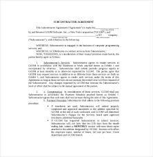 Subcontractor Agreement Format Master Subcontract Agreement Short Form 14 Subcontractor Agreement