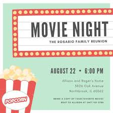 Work Happy Hour Invite Wording Customize 646 Movie Night Invitation Templates Online Canva