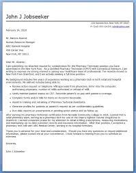 Pharmacy Technician Cover Letter Sample Resume Template Info