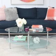 small coffee table books best of walker edison wave oval glass 2 tier coffee table multiple colors