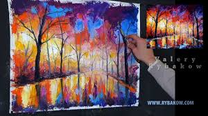 how to oil paint like leonid afremov painting lessons oil painting tutorial rainy night park you
