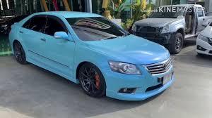 Toyota Camry ทำสีฟ้ามุก สด ๆ - YouTube