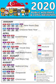 Chinese Calendar January 2020 Singapore Public Holidays And Long Weekends 2020 Singaporego