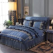quilted cotton princess luxury bedding set queen king size bed set grey blue pink lace duvet cover bed skirt table cover set canada 2019 from crystalstory