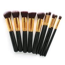 amazon makeup brush kit 10 pc super soft synthetic premium essential makeup brush set contour brush kabuki cosmetics foundation blending blush