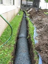 NDS EZ Drain Preconstructed French Drain Installation Yard - Exterior drain pipe