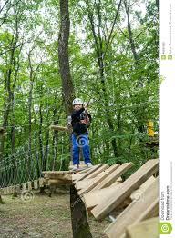 Walking Logs Kid Walking On A Logs Path In Adventure Park Stock Image Image Of