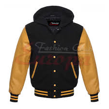 men s varsity real leather sleeves wool letterman jacket w hood black yellow
