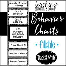 Black And White Behavior Clip Chart Including An Editable Version