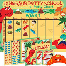 Potty Training Chart Amazon Potty Training Chart For Toddlers Dinosaur Theme Sticker Chart Celebratory Diploma Crown And Book 4 Week Potty Chart For Boys And Girls