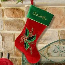 Personalized Christmas Stockings - Velvet Holly Leaves & Berries ...