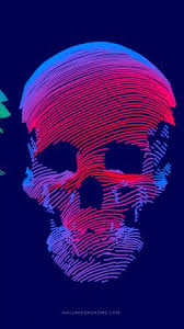 abstract 3d colorful skull 8k vertical