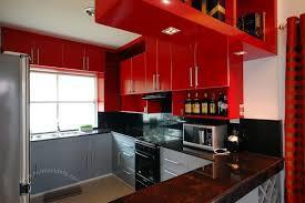 Red And Black Kitchen Red And Black Kitchen Curtains Classic Richly Stained Wood Cabinet