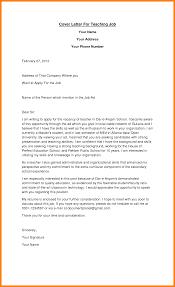 Employment Letter As Teacher Teaching Job Of Intent Cover Sample