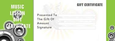 Guitar Lesson Gift Certificate Template Music Gift Certificate Template Samweiss