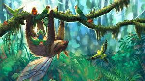wallpaper sloth, parrots, jungle, art ...
