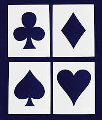 8 X 10 Heart Template Amazon Com Playing Card Suits 4 Piece Stencil Set 8 X