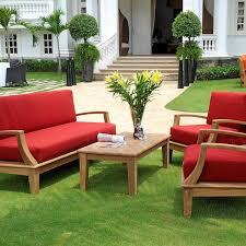 hiteak furniture inland teak 4 person patio deep seating set ultimate patio