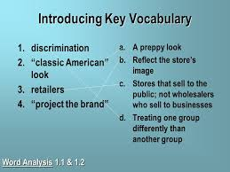 going for the look getting ready to getting ready to  7 introducing key vocabulary 1 discrimination