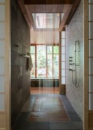 japanese bathroom design. Japanese-styled Bathroom In Dark Earthy Colors, With A Rain Shower And Wood Floor Japanese Design