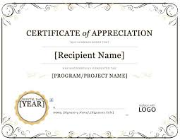 Certificate Of Excellence Template Word Impressive Free Editable Certificate Of Appreciation Template 48