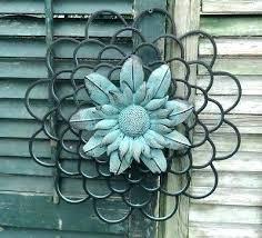 indoor outdoor home decoration metal flower plaque wrought iron sunflower wall