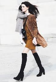 hooker boots. Suede Jacket Over The Knee Boots Mom Style Collage Vintage Hooker