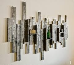 zoom on decorative modern wall art with rustic display shelf decorative wall art