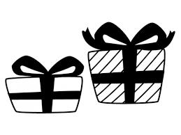 プレゼント箱の白黒イラスト かわいい無料の白黒イラスト モノぽっと
